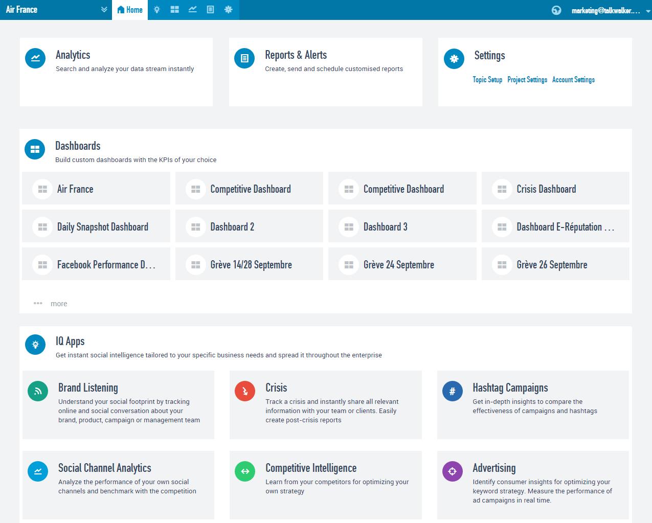 Главная страница онлайн-сервиса мониторинга и анализа медиа Talkwalker