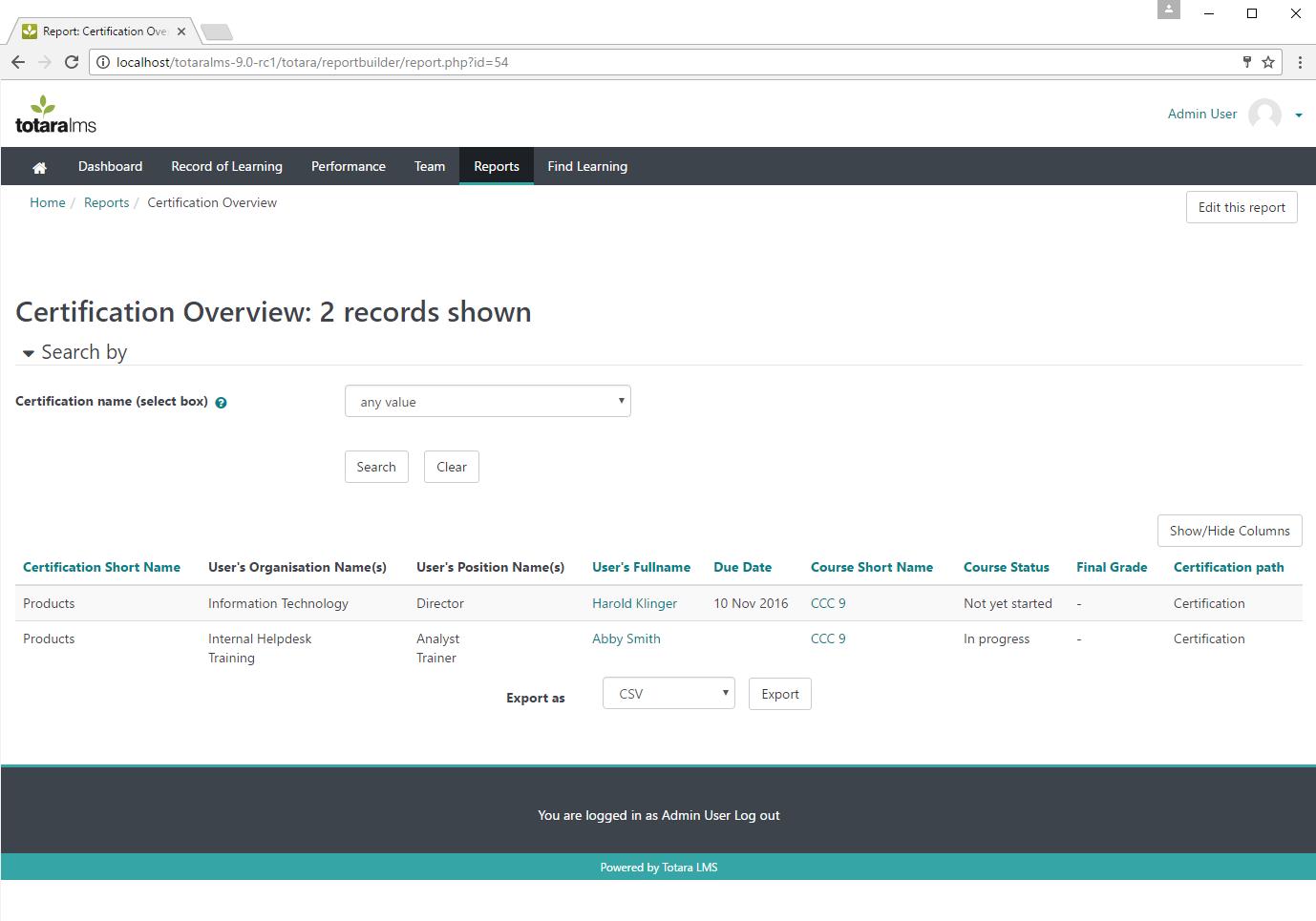 Обзор результатов сертификации в системе управления обучением Totara Learn