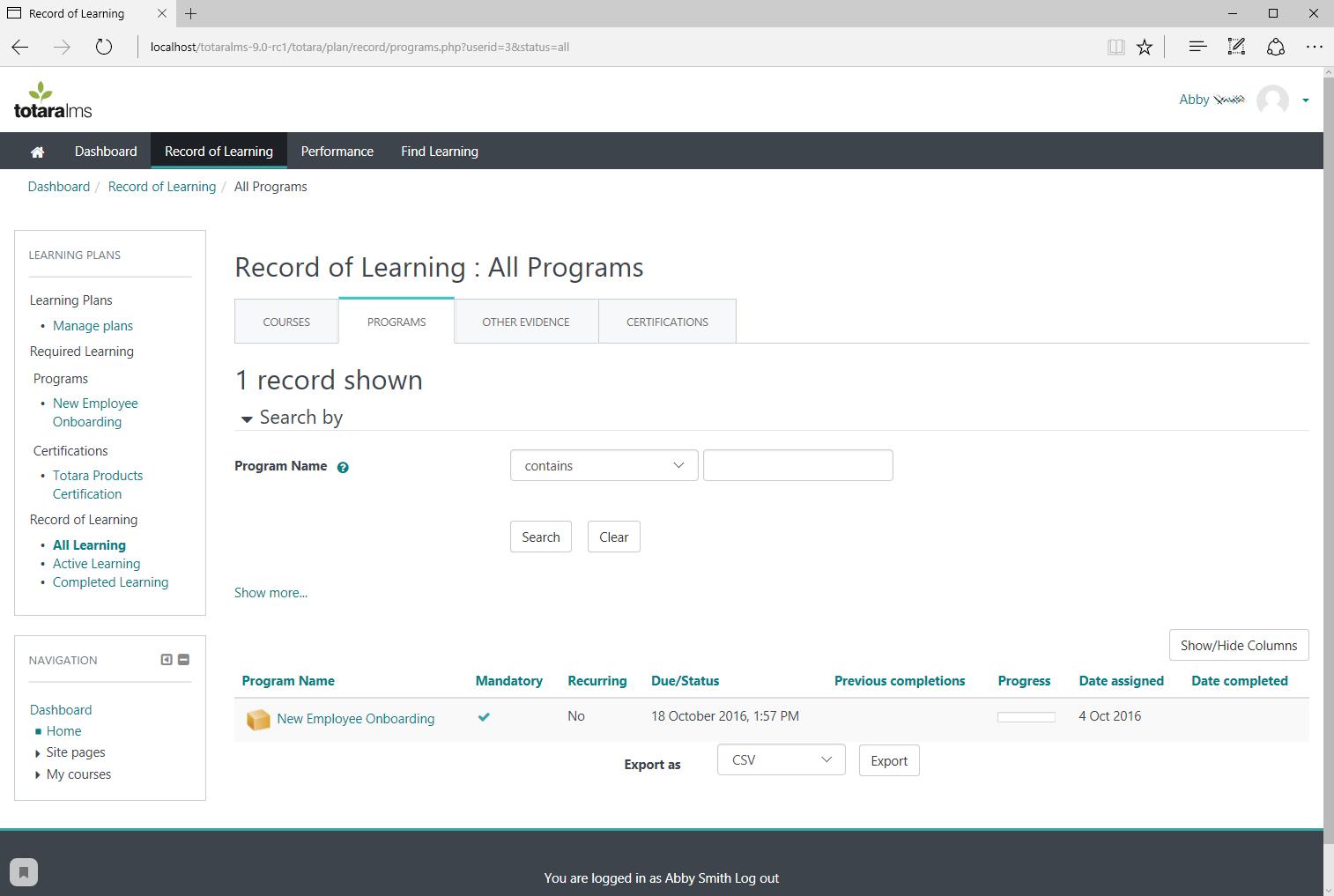 Создание записей о проведении обучения в LMS-системе Totara Learn