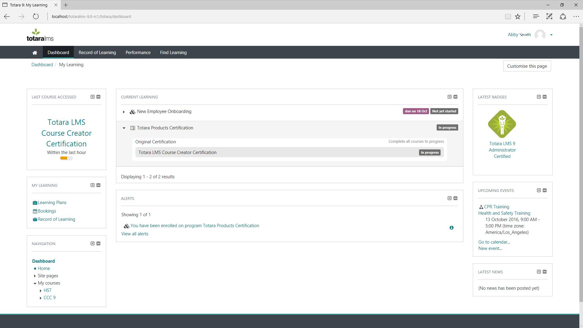 Рабочая информационная панель в бесплатном программном обеспечении LMS Totara Learn