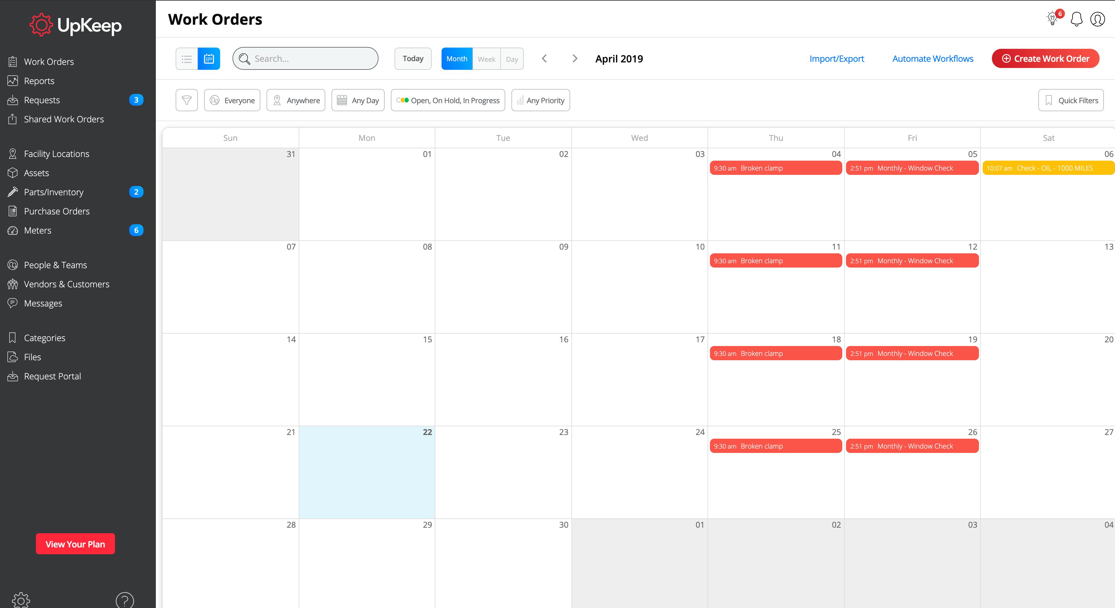 Просмотр нарядов на работы в календарном плане в программном сервисе UpKeep