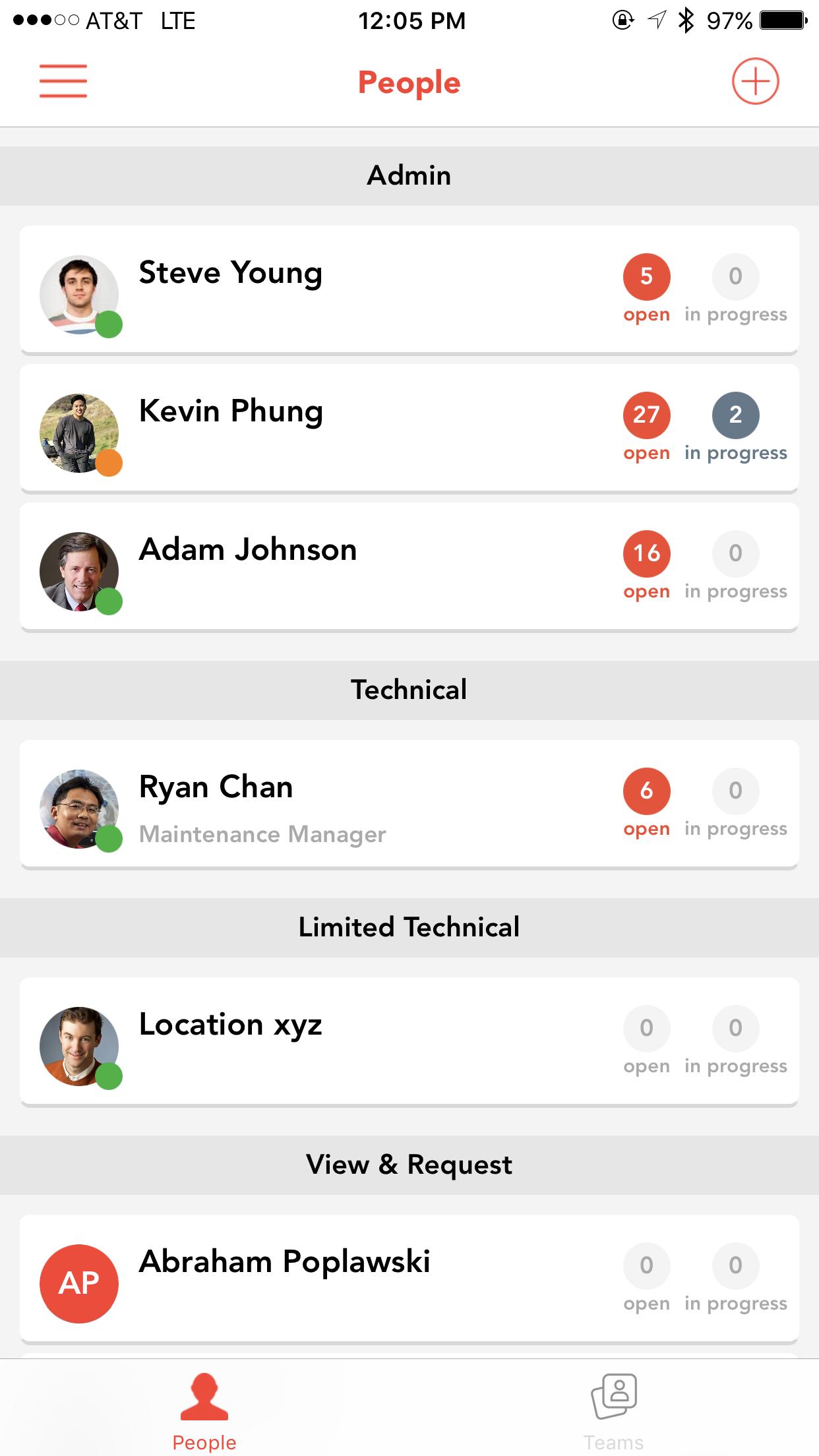 Просмотр списка пользователей в системе физическими управления активами предприятия UpKeep