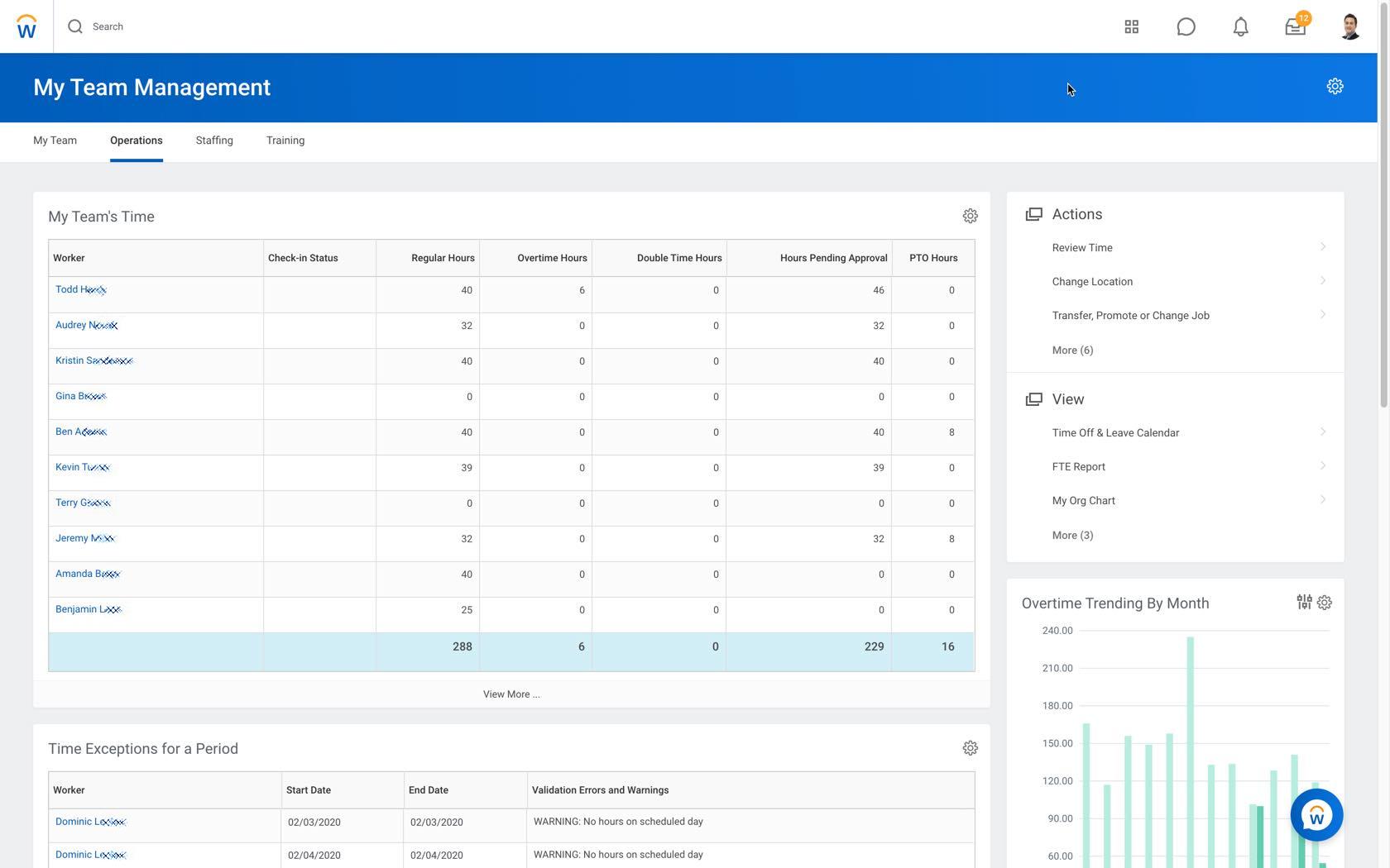 Интерфейс менеджера для управления командой в программном обеспечении Workday HCM