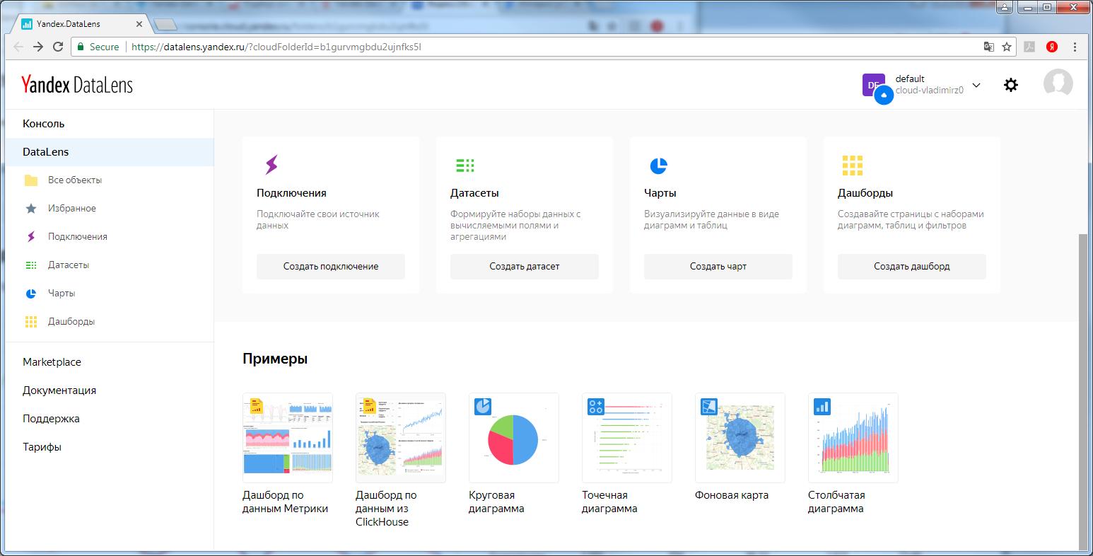 Рабочее меню в БА-программе Yandex DataLens