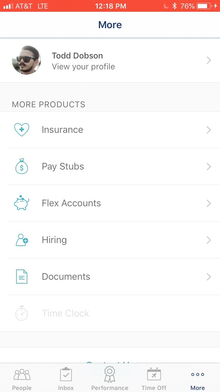 Личный кабинет сотрудника компании в мобильном приложении Zenefits