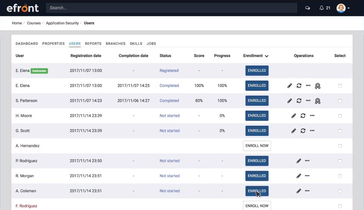 Просмотр результатов прохождения учебного курса в программном продукте для создания онлайн-школ eFront