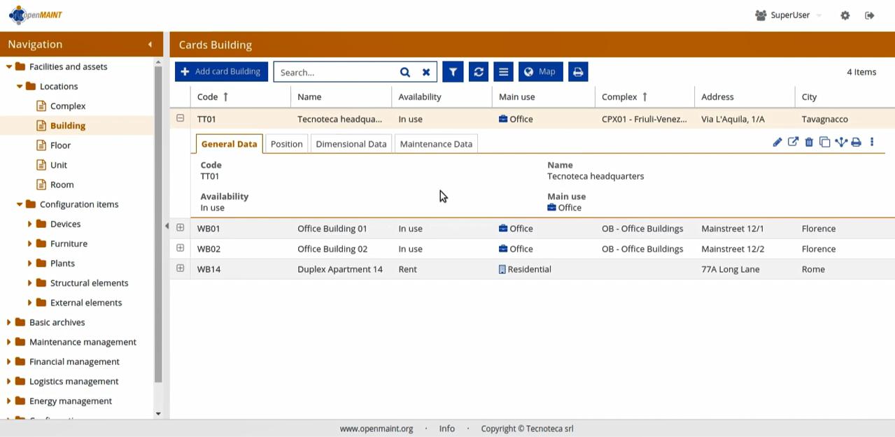 Информация по обслуживаемым инженерным объектам в систем управления ТОиР openMAINT
