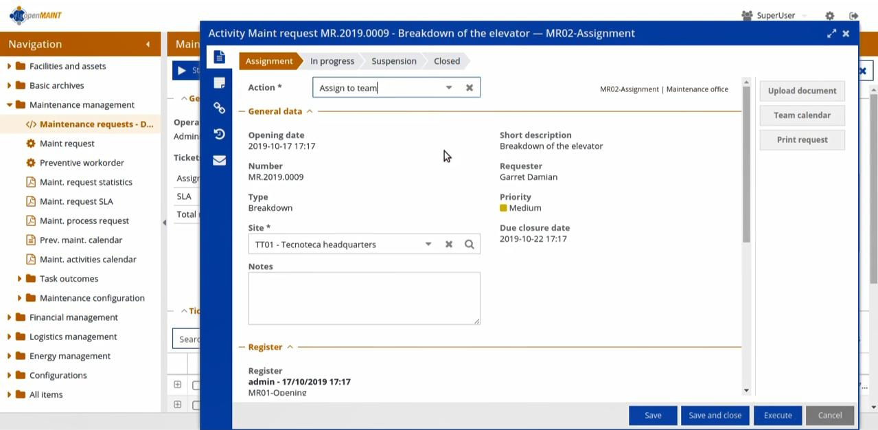 Просмотр запроса на обслуживание офиса в EAM-системе openMAINT