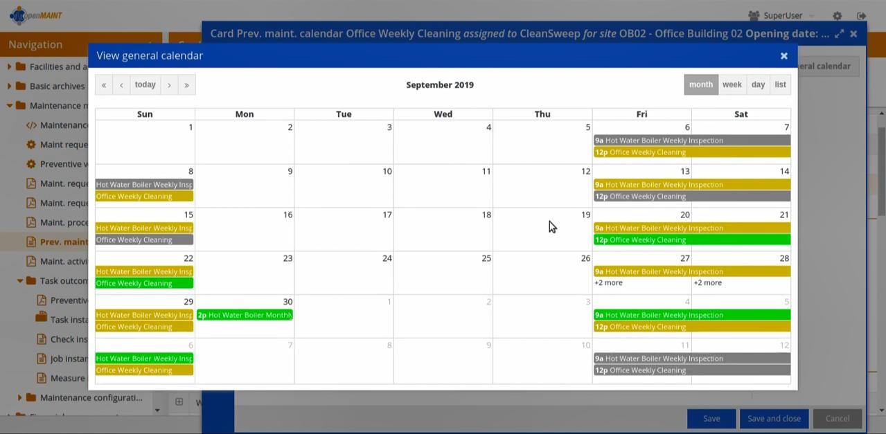 Календарный график в системе управления активами предприятия openMAINT